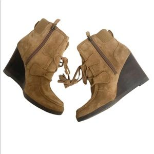 Franco sarto westerly wedge suede booties size 6.5